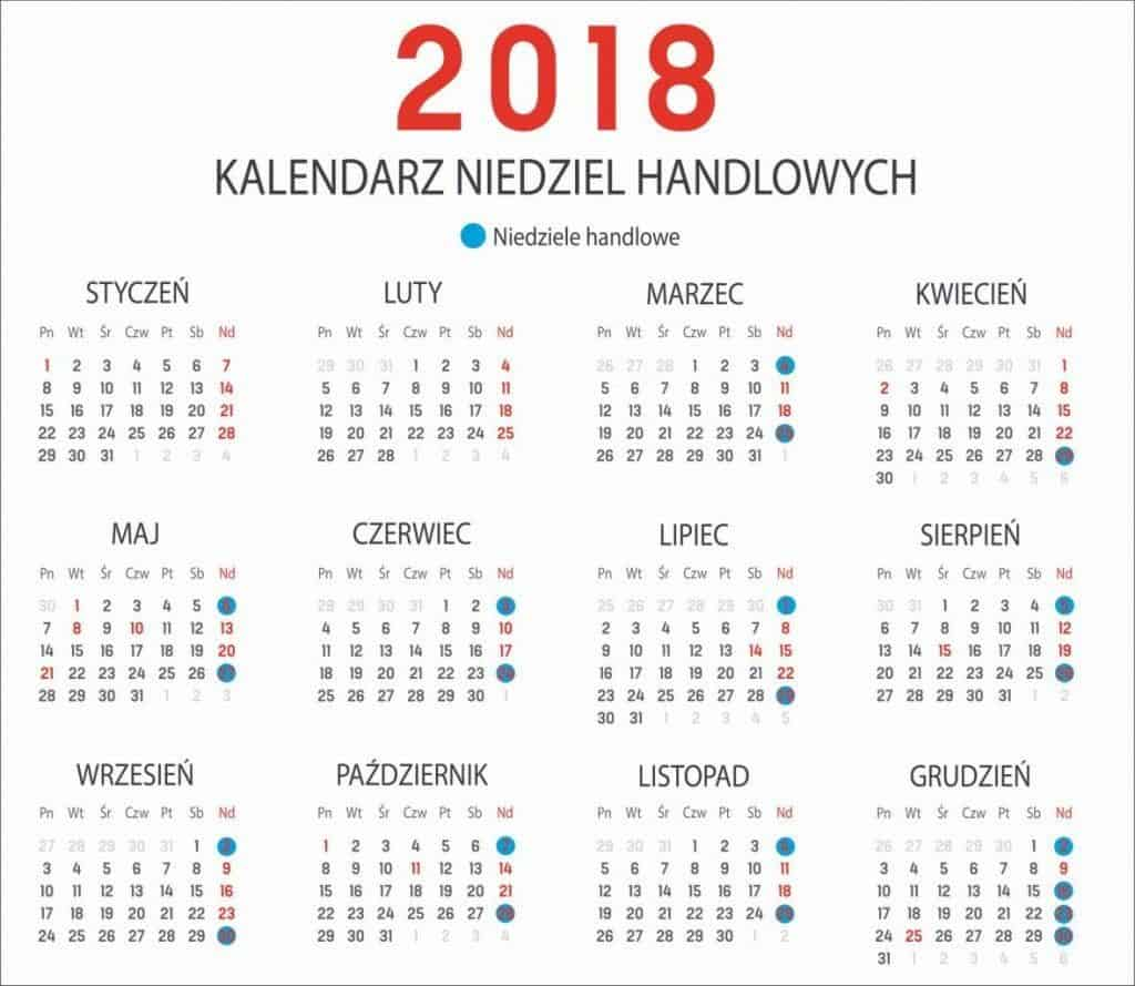 kalendarz niedziel handlowch